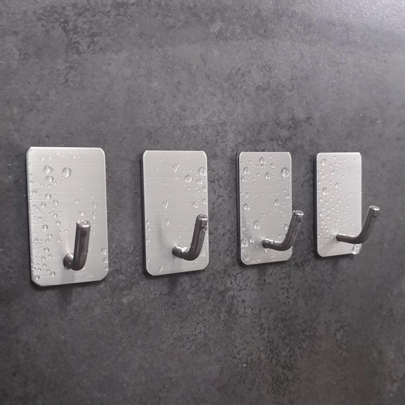 PTOC 5PCS 304 Stainless Steel Crochet Door Hook Wall Key Bag Hanger Storage Holders Rack