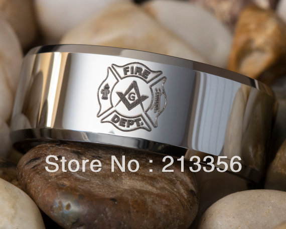 free shippingusa wholesales cheap price brazil russia canada uk hot selling 8mm beveled firefighter - Firefighter Wedding Rings