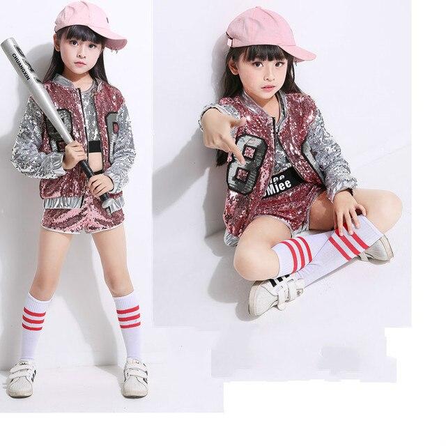 Мода дети джаз танец Костюмы мальчики девочки уличных танцев хип-хоп танца костюмы Детская одежда для выступлений комплекты 2-15Years