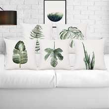 Tropical plant rain forest fern Monstera wedding gift cushion cover wholesale pillow cover home car sofa decorative pillow case