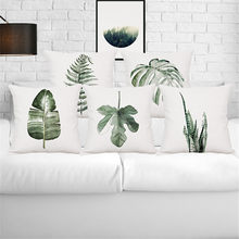 Tropical plant rain forest fern Monstera wedding gift cushion cover wholesale pillow cover home car sofa decorative pillow case(China)