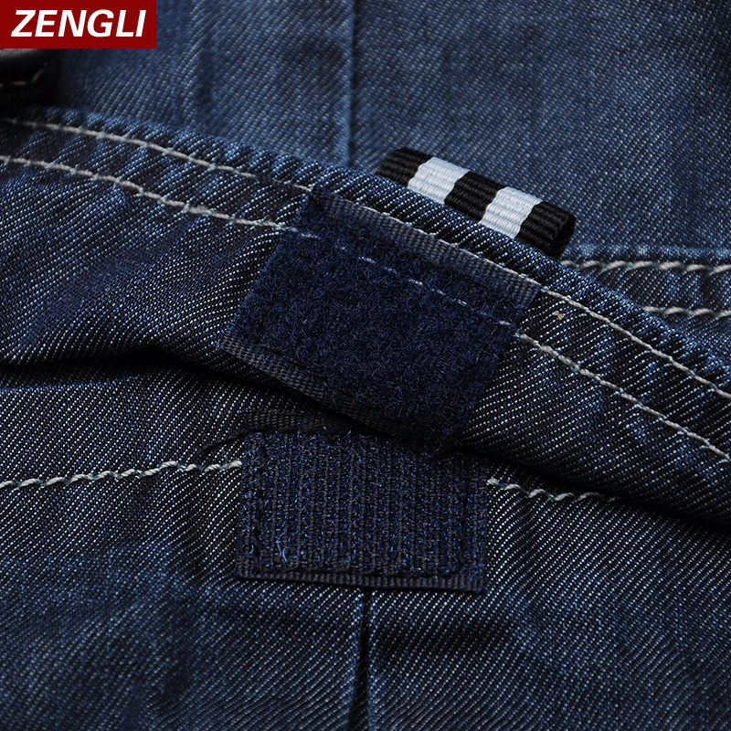 ZENGLI Mens Denim Cargo Shorts Jeans Casual Vintage Blue Pockets Biker Jeans Summer Knee Length Denim Shorts 40 42 44 46 48