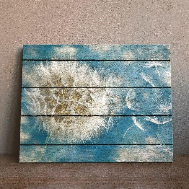 Art Print Oil Painting Dandelion Framed Wood Pattern Home/Store/Room ...