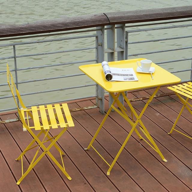 Balcony Outdoor Table Iron Folding Coffee Table Simple Modern Desk Garden  Leisure Fashion Small Table Outdoor