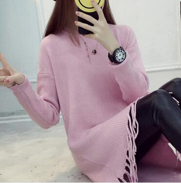 La primavera y el invierno nueva capa Coreana larga borla floja del suéter del s