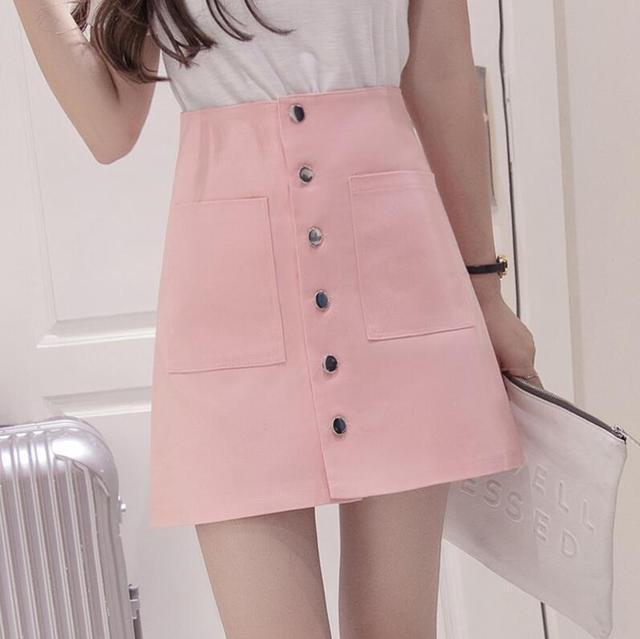 Rosa falda de la cintura Una Línea de falda 2016 nuevo Instituto Coreano de viento solo pecho paquete cadera falda yardas grandes