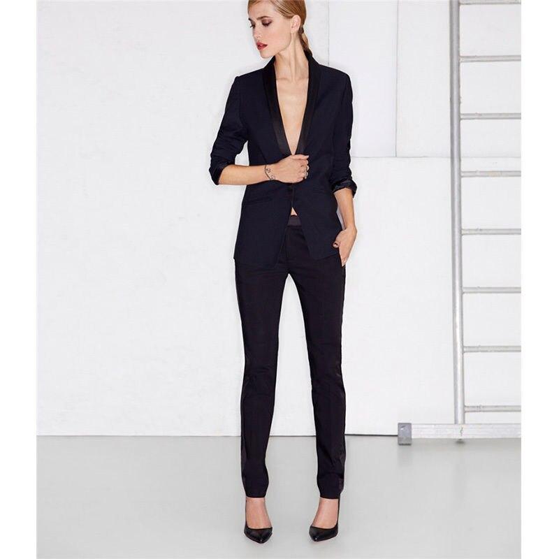 Noir femme Tuxedos bureau uniforme affaires travail Slim femmes pantalon costume sur mesure B110
