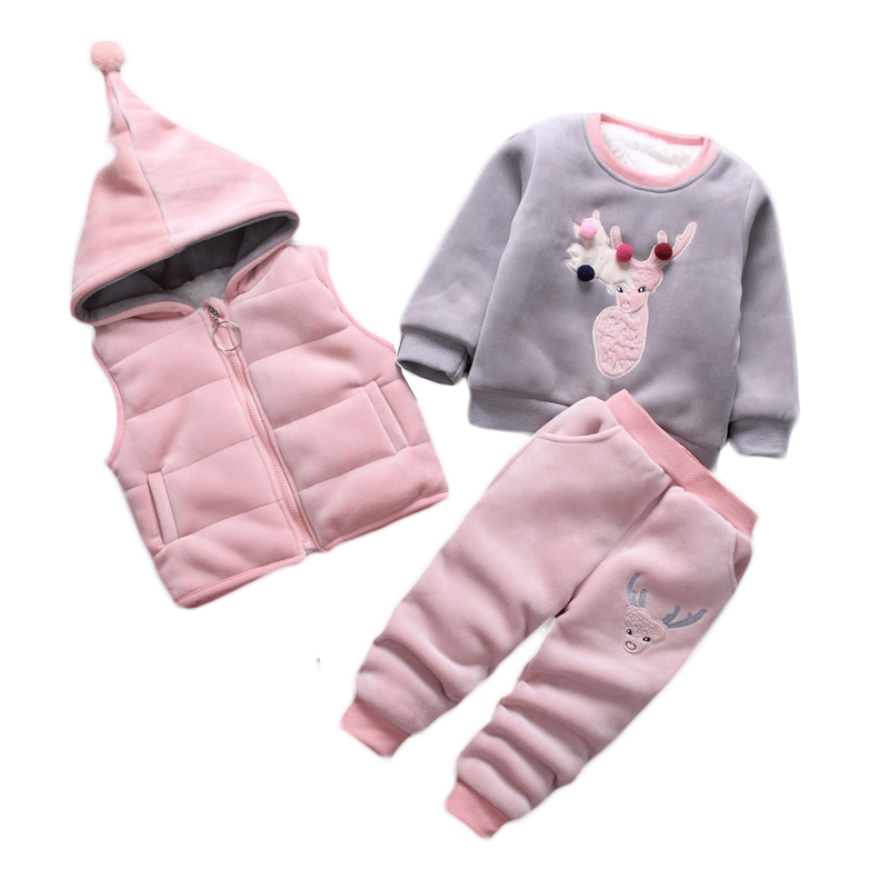 Kids Clothes Sets 2018 Toddler Clothing Thicken Girls Clothes Fashion Children Clothing Toddler Girls Winter Clothing hurave new arrival girls tassel sweater children fashion kids clothing brand england style toddler clothes