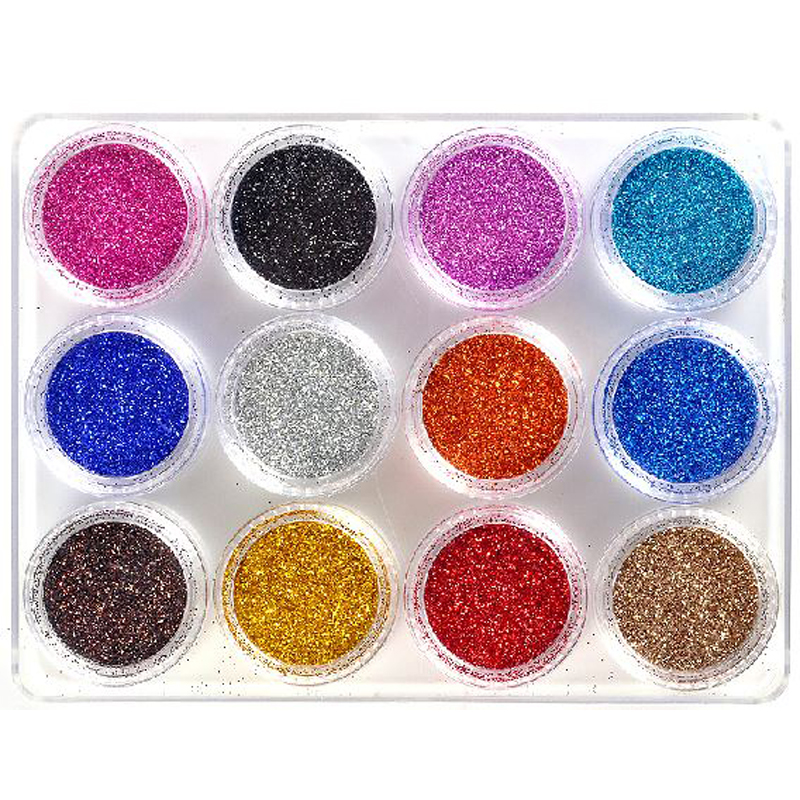 New 12 Colors Fashion nail glitter powder Decoration Laser ...