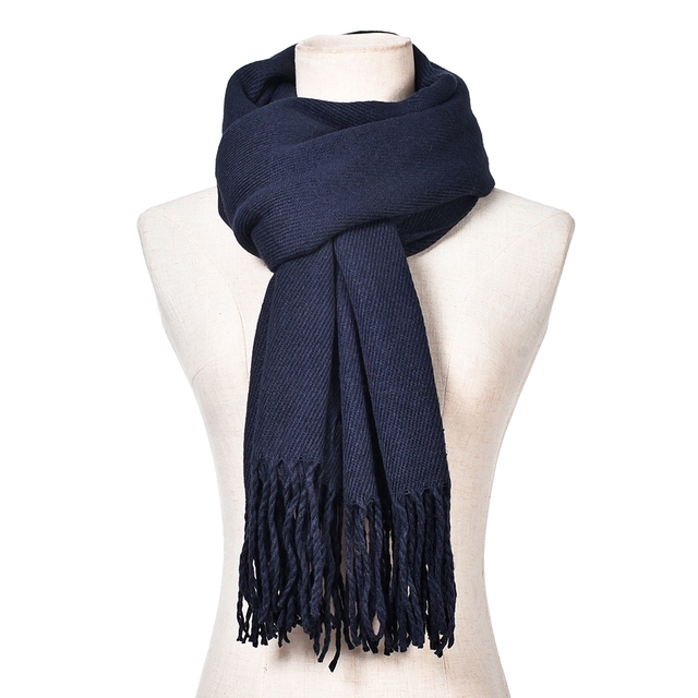 42031fca845 US $8.15 32% OFF|New Fashion Women Men's Winter Warm Tassels Solid Cashmere  Feel Scarf High Quality Pashmina Shawls Scarves for Ladies-in Women's ...