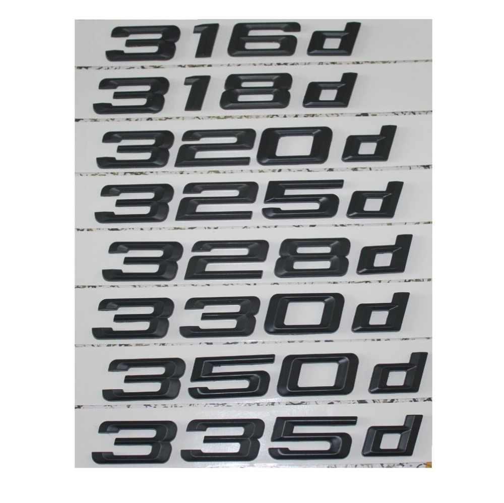 Hitam 316D 318d 320D 325D 328d 330d 335d Mobil Emblem Emblem Belakang Nomor Huruf Lencana untuk BMW 3 Seri E90 e46 E91 E92 E93 F30