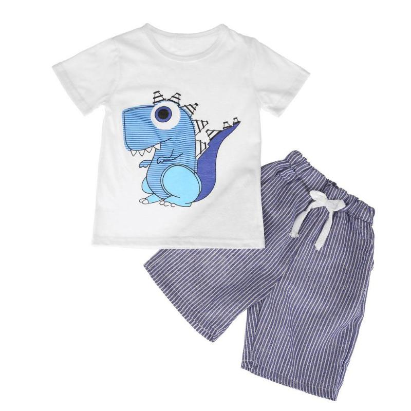 От 2 до 7 лет летние с принтом динозавра из мультфильма комплект одежды для мальчиков милый животных печати детская футболка шорты в полоску;...