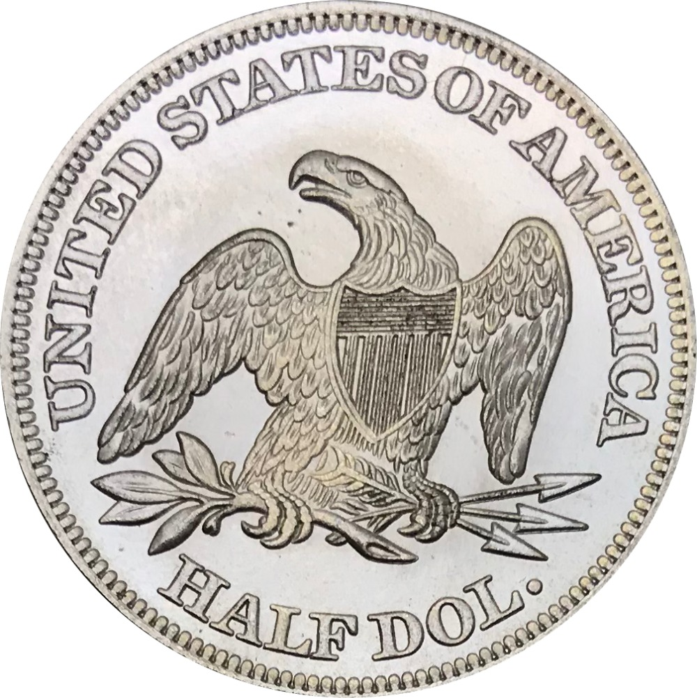 United States Of America 1859 Half Dollar Seated Liberty No Motto Eagle Brass Silver Plated Copy Coins
