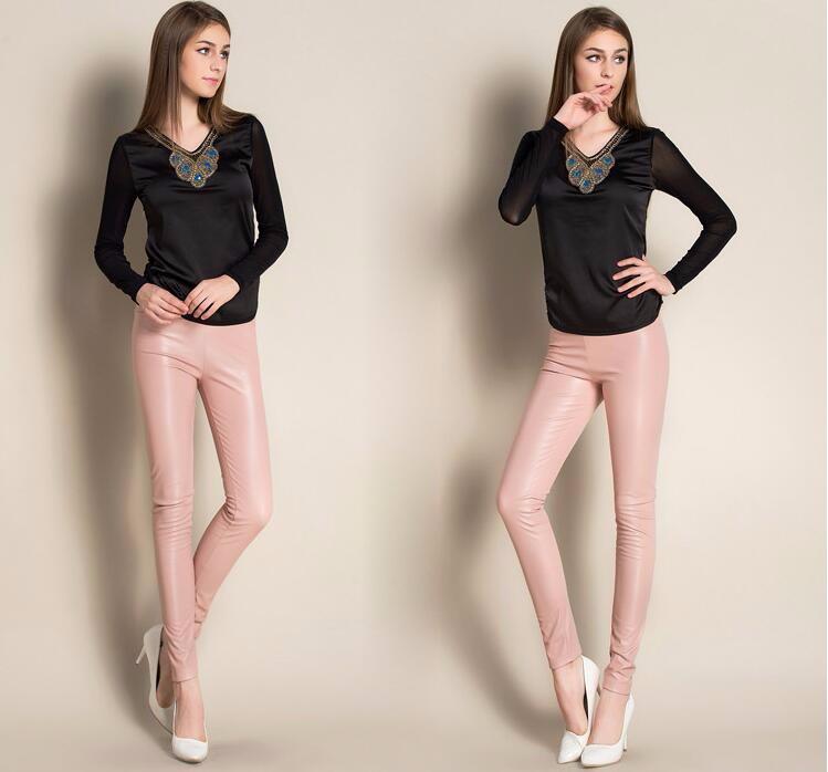Leggings winter Women High Waist PU Leather Legging Slim Faux Pants Female Fashion Warm Leggings Women 11