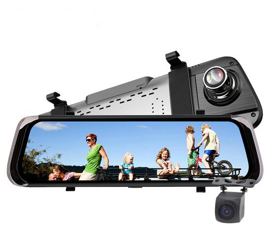"10"" F800 car mirror dash recorder IPS touch screen dual cams HD1080P car video recorder 1:1(China)"