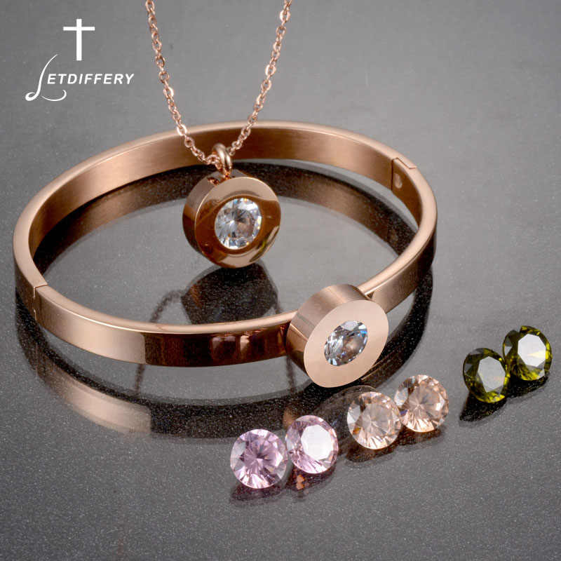 Letdiffery Brand CZ Stone Necklace Bracelets Set Stainless Steel Interchangeable Jewelry Set Women Wedding Jewelry