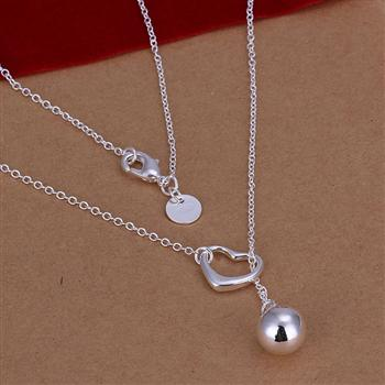 Factory price top quality Silver Plated & Stamped 925 open heart with solid ball pendant necklace women fine jewerly promotion ...