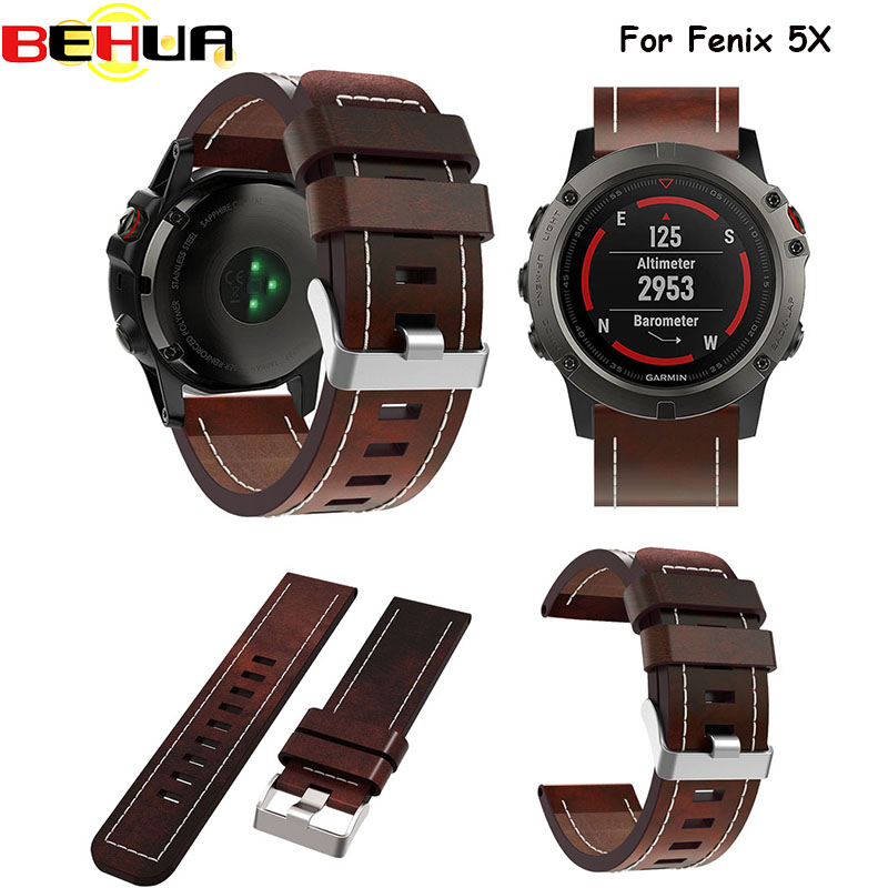 Watch band 2017 New good Leather wrist Watch Band Strap Bracelet Belt 26MM For Garmin Fenix 3/ Fenix 5X Smart Watch wristband for garmin fenix 5x gps fashion new titanium steel bracelet wrist strap smart watch band for garmin fenix 5x gps a 23