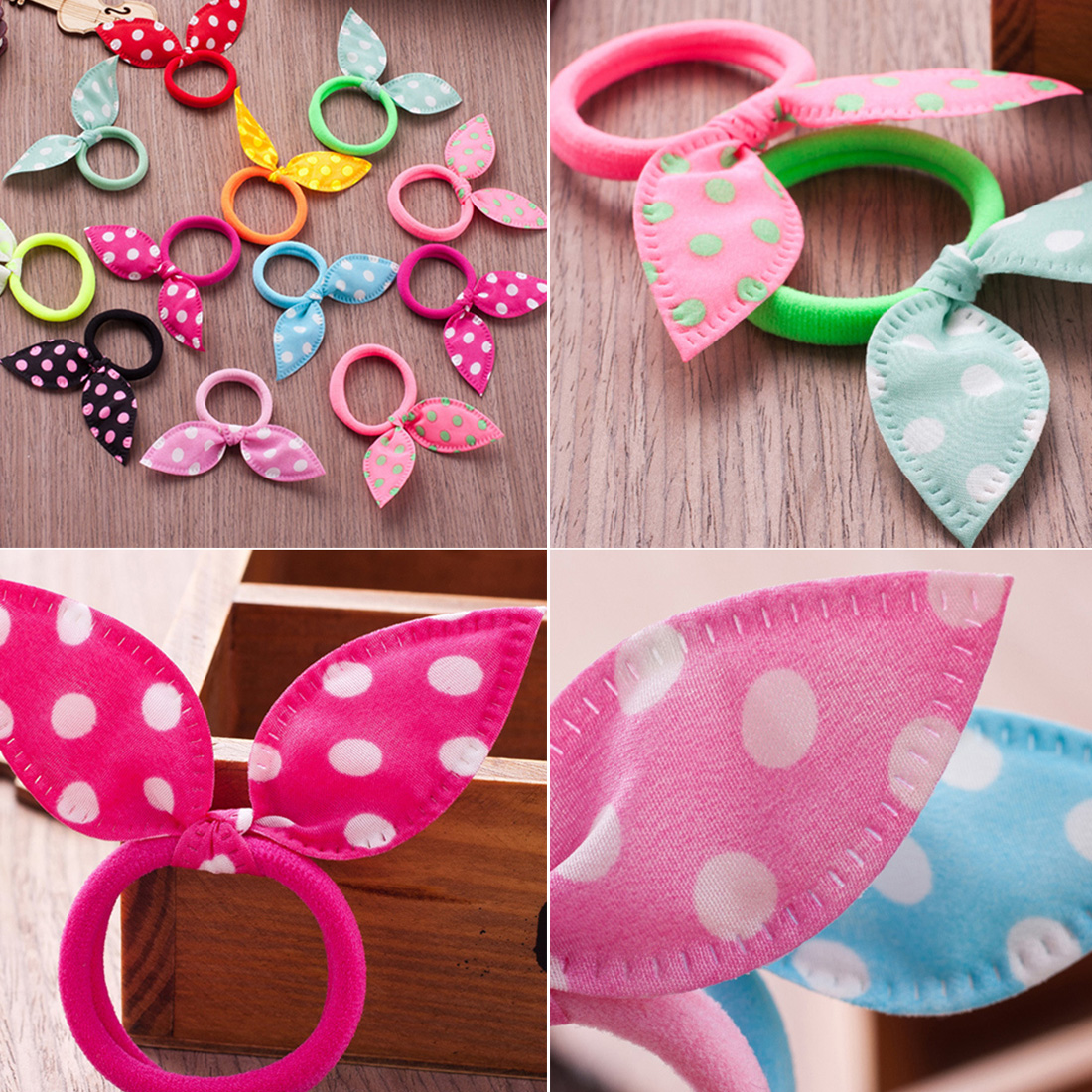 20pcs set Rabbit ears Hair band ren Hair Accessories Scrunchies Elastic Hair Band for girl rubber band in Hair Accessories from Mother Kids