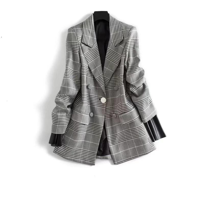 2018 Fashion New Spring Pattern Woman Blazer Plaid Suit Pocket Loose Women Casual Coat Jacket Womens Coats Female Jackets