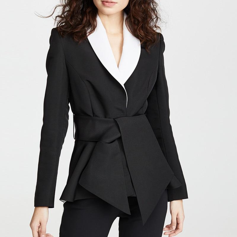 TOP QUALITY New Fashion 2019 Designer Blazer Jacket Women's Color Block Shawl Collar Belt Blazer