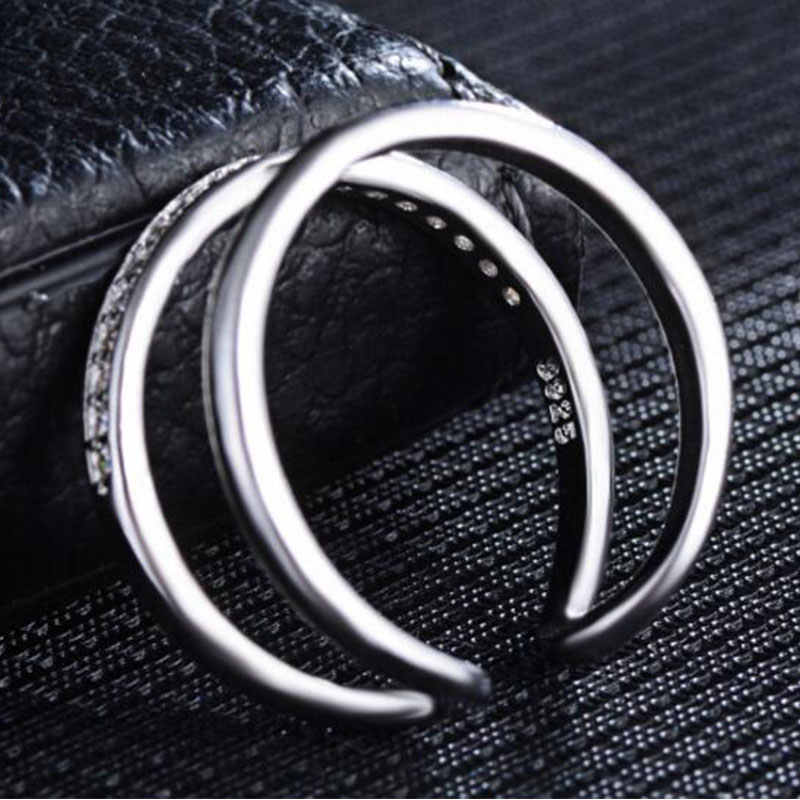 Korean Simple Fashion 925 Sterling Silver Opening Rings Multi-layer Mosaic Zircon Ring For Women