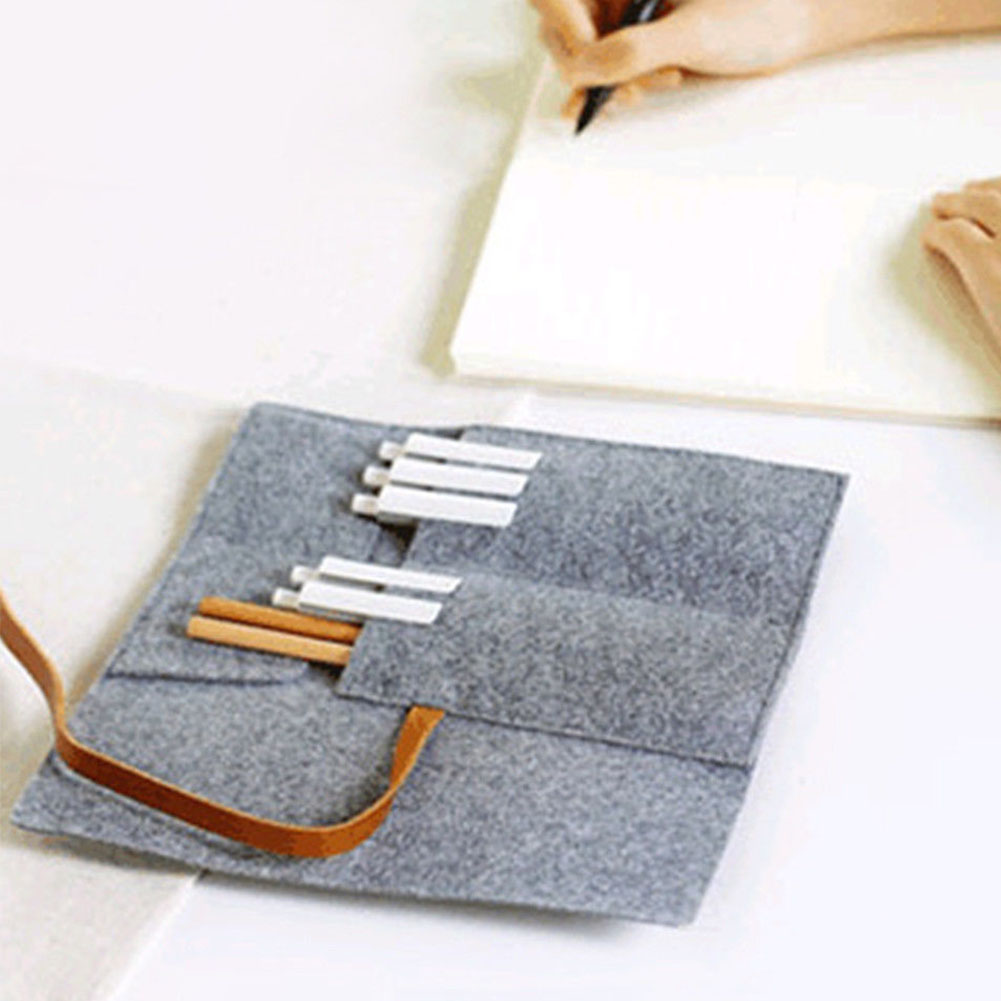 Pencil Case Pen Organizer Canvas Soft Storage Bag Paint Brush Stationery Roll Up Arts Craft Pen Bag Portable Drawing