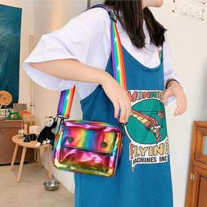 Crossbody-Bags Shoulder-Messenger-Handbags Holographic Girls Fashion Women Casual Zipper