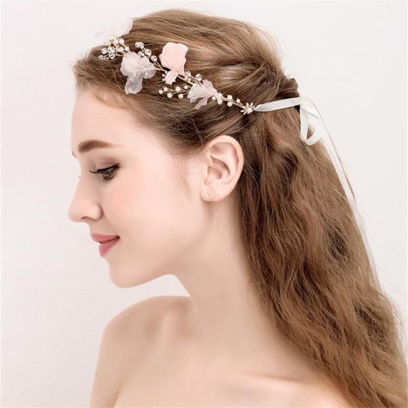 lin estudio moda rosa flor nupcial peinados hojas de oro de la boda accesorios para el