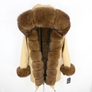 Image 3 - Oftbuy 2020 新冬のジャケットの女性本物の毛皮のコートナチュラル本物フォックス毛皮の襟ロングパーカービッグ毛皮の上着着脱式ストリート