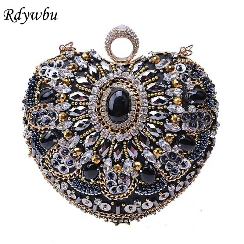Rdywbu Luxury Beading Heart Evening Bag Women Handmade Finger Ring Clutches  Rhinestone Purse Diamonds Wedding Party. US  25.32. Rdywbu Best Price ... 31ee64259b92