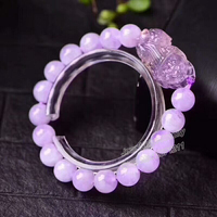 Wholesale Lavender Purple Natural Crystal Bracelet Round Bead With Pi Xiu Hand String Lucky Beauty for Women Crystal Jewelry