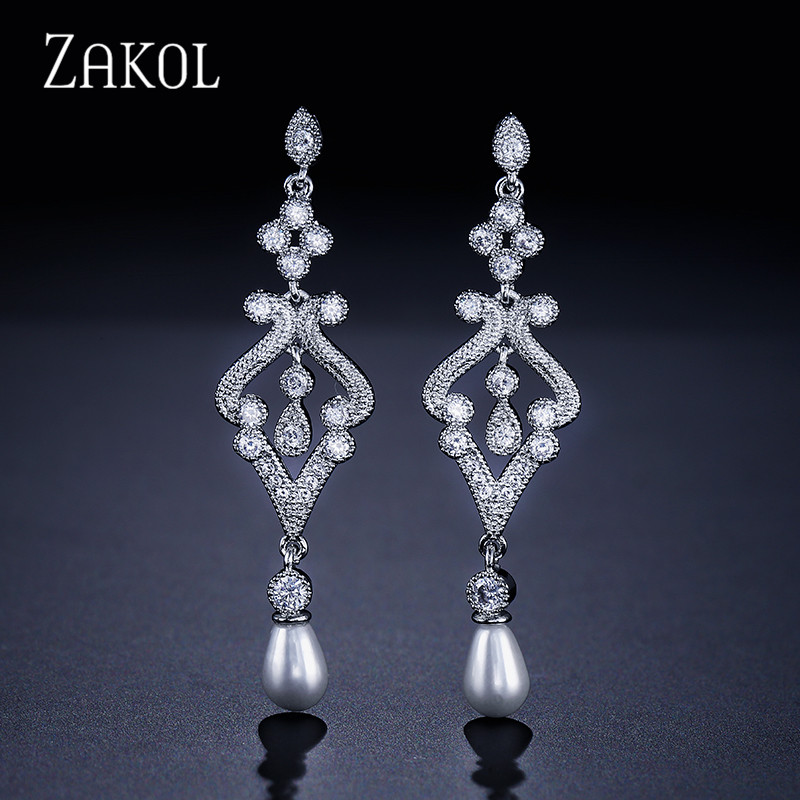 ZAKOL Design Vintage Palace Style Oval Imitation Pearl Sliver Farge CZ Zirconia Bridal Long Dangle Earrings Smykker FSEP215