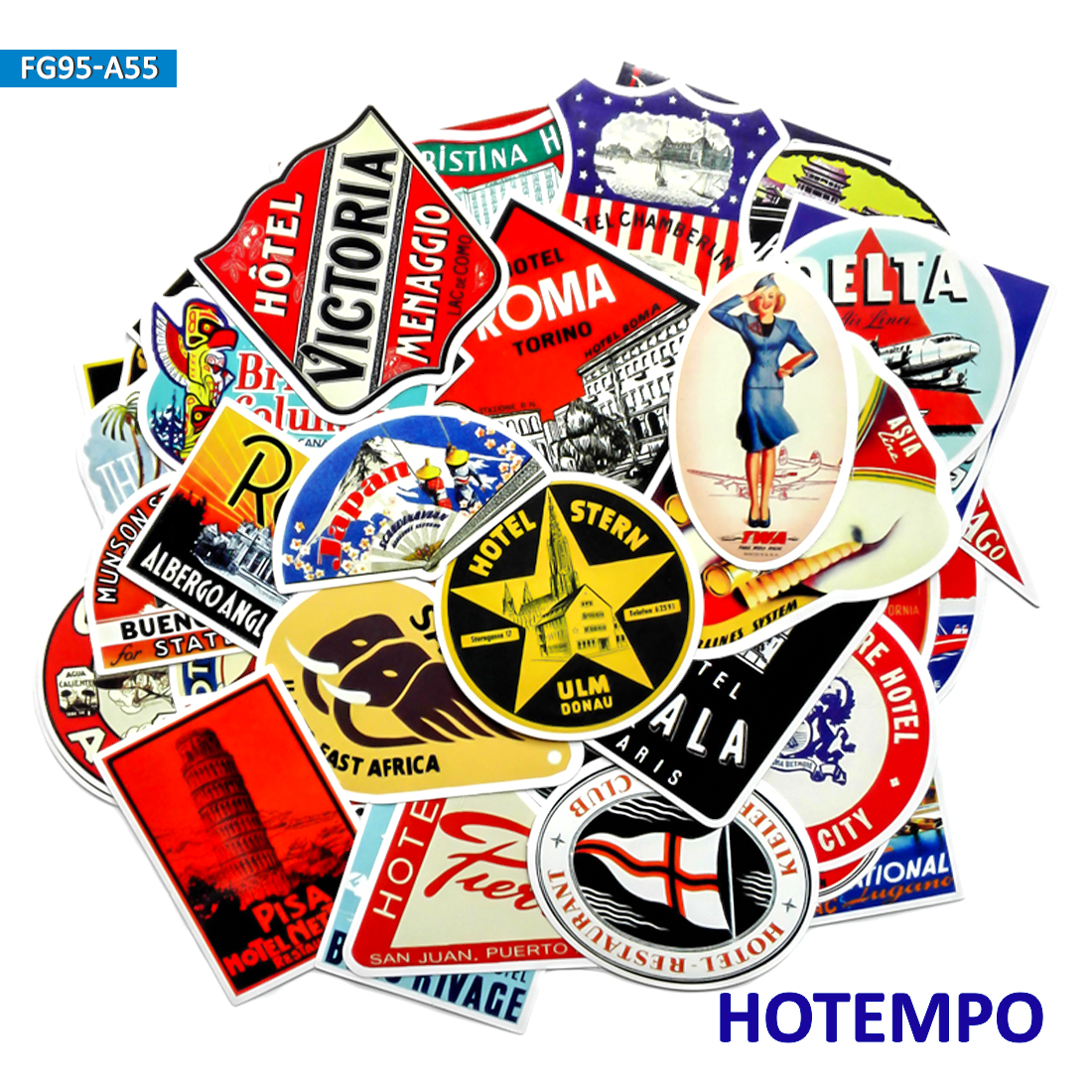 55/50pcs Retro Art Style Vintage Hotel Travel Stickers For Mobile Phone Laptop Luggage Guitar Case Skateboard Bike Car Stickers