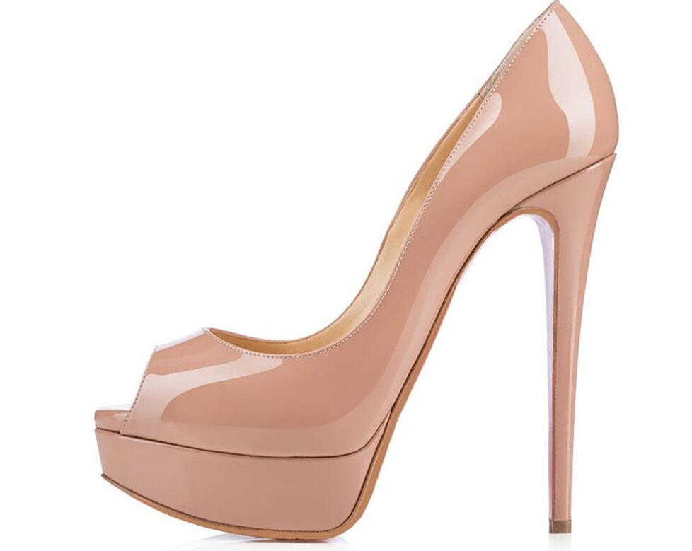 Nude new fashion woman pumps peep toe 14cm high heel nude pumps patent leather shoes thin heel platform ladies shoes ladies handmade fashion patent patchwork 100mm wedding evening high heel pumps shoes cke103