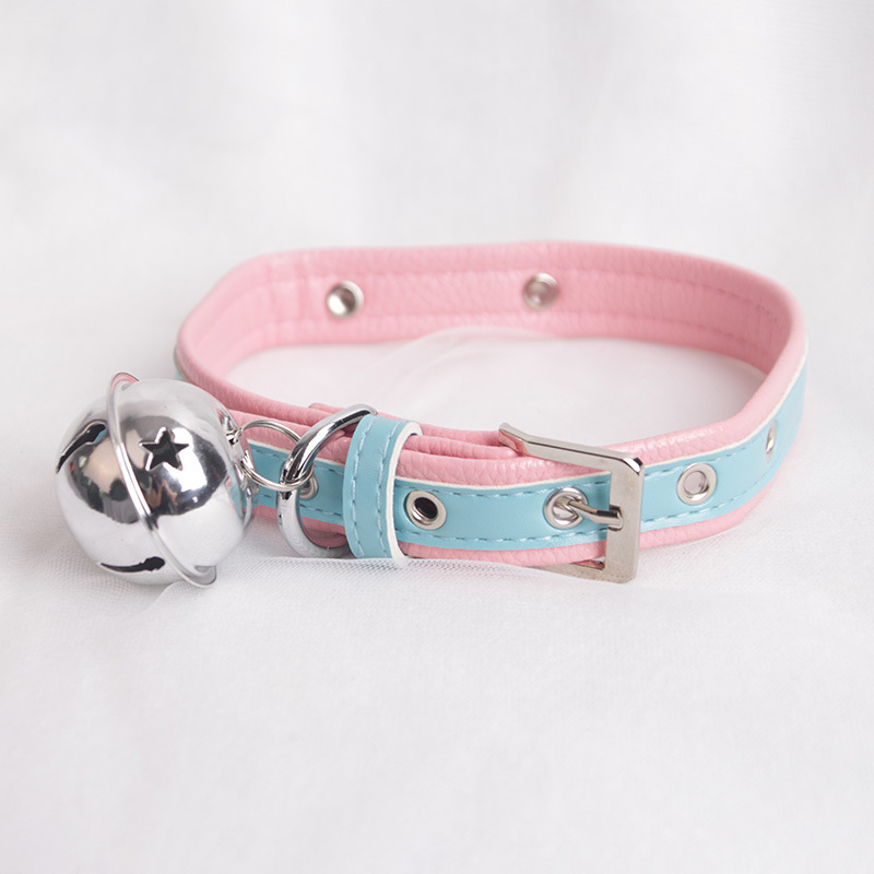 Sexy Cute Choker Leash Chain Pink Blue Harajuku Handmade Gothic Punk Leather Necklace With Bells Sex Toys For Couple Collar