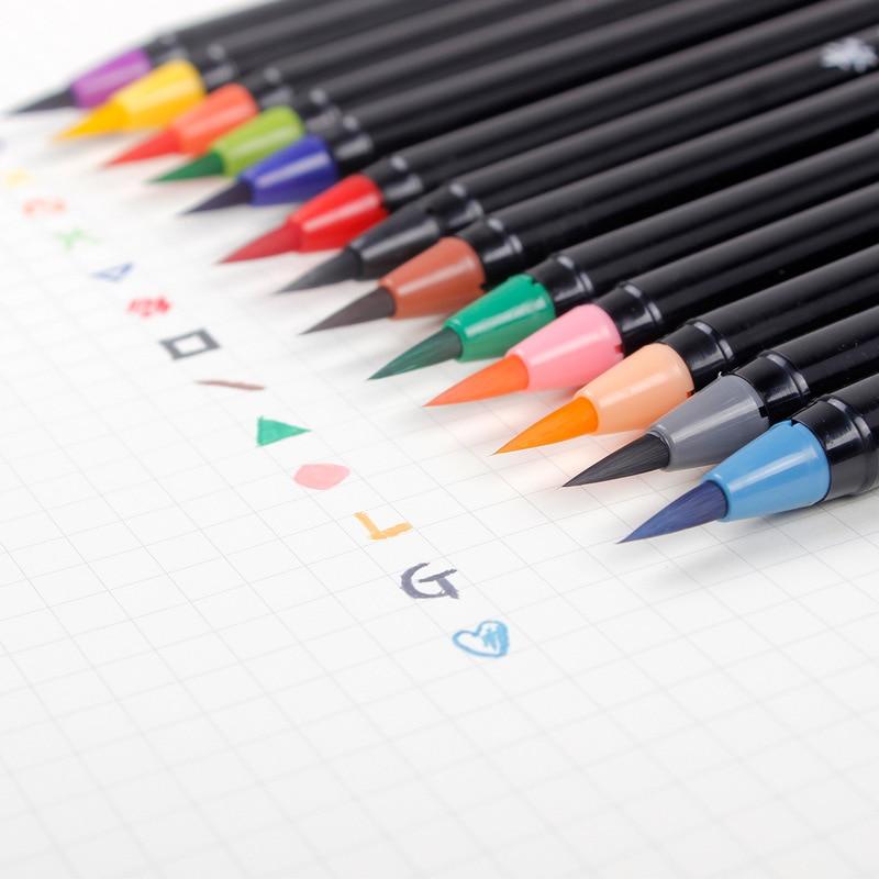 caneta de aquarela escova de cabeca macia da cor 20 caneta de agua da torneira da
