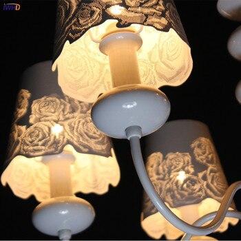 IWHD Nordic Eenvoudige Moderne LED Kroonluchters Voor Keuken Slaapkamer Woonkamer Wit Ijzeren Wrount Retro Kroonluchter LED Lustre Avize