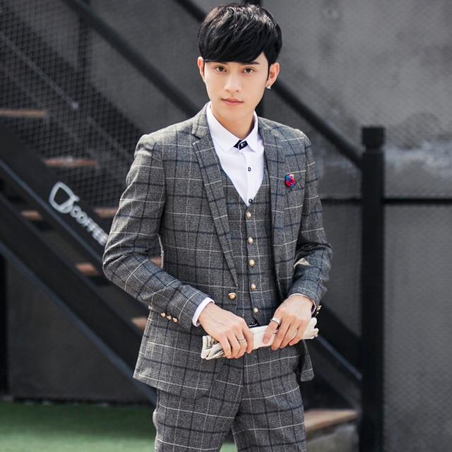 21e1d215afb 2017 Fashion Design Korean Style Slim Fit Men Suits Grid Pattern Business  Men Office Wear Suits Groom wedding Tuxedos 3 Pieces