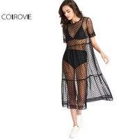 COLROVIE Tầng Sheer Dobby Lưới Dress Summer New Fashion Ăn Mặc Nữ Bãi Biển Phong Cách Boho Ngắn Tay Áo Một Dòng Váy