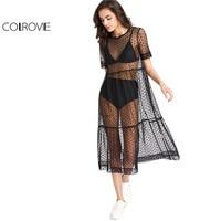 COLROVIE Tiered Sheer Dobby Mesh Dress Summer New Fashion Dress Women Beach Style Boho Short Sleeve