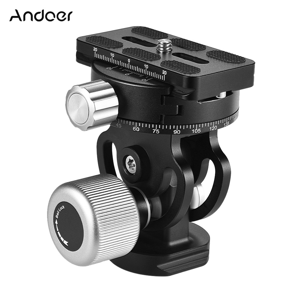 Andoer VH 10 2 Way Tripod Head Panoramic Bird Watching Photography Head with Quick Release Plate