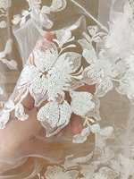 1 Yard Sequin bridal tulle lace fabric in off white pink couture gown dress fabric accessories craft accessories bridal gown