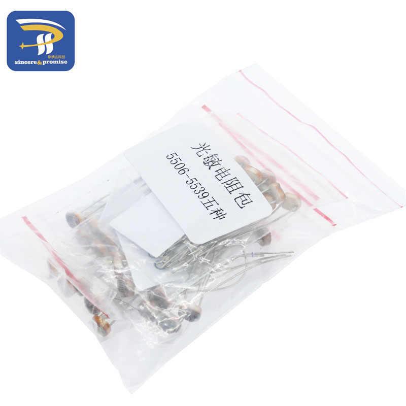 Фоторезистор комплект 5 видов * 10 шт. 5506 5516 5528 5537 5539 комплект светильник зависимый резистор LDR 5 мм Фоторезистор посылка