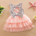 New Infant Baby Girls Dress Sequins Bow Tutu Girl  Dresses Kids Wedding  Girls Clothing Set Fashion Baby Clothes 24M to 6T