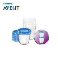 AVENT 5 יחידות כוס אחסון חלב אם אחסון מזון לתינוקות סט תיבת שימור חותם כוס מיץ פירות חלב 180 ML Melkpoeder Doosjes