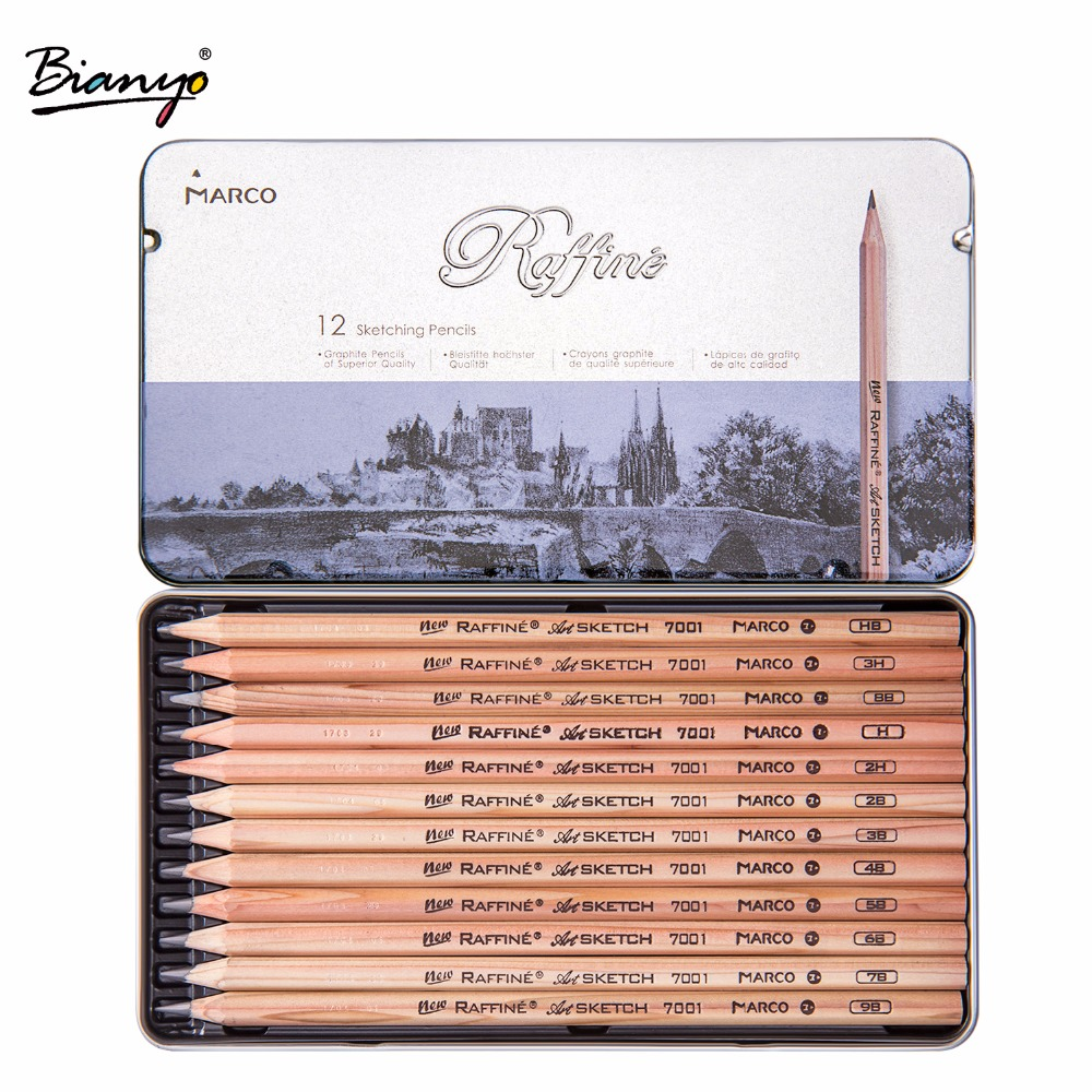 Marco 12Pcs/Box 3H-9B Soft Safe non-toxic Sketching pencils Professionals Drawing Office School Pencil for Kid Gift pencil soft safe non toxic standard pencils hb 2b 4b painting professional office school drawing sketching best quality