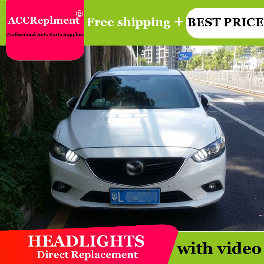 AUTO.PRO For Mazda 6 Atenza headlights 2014-15 for mazda 6 LED light bar xenon Q5 bi xenon len HID kit projector LED Blub ownsun led double y sharp eagle eye drls hid bi xenon projector len original replacement headlights for toyota camry 2015