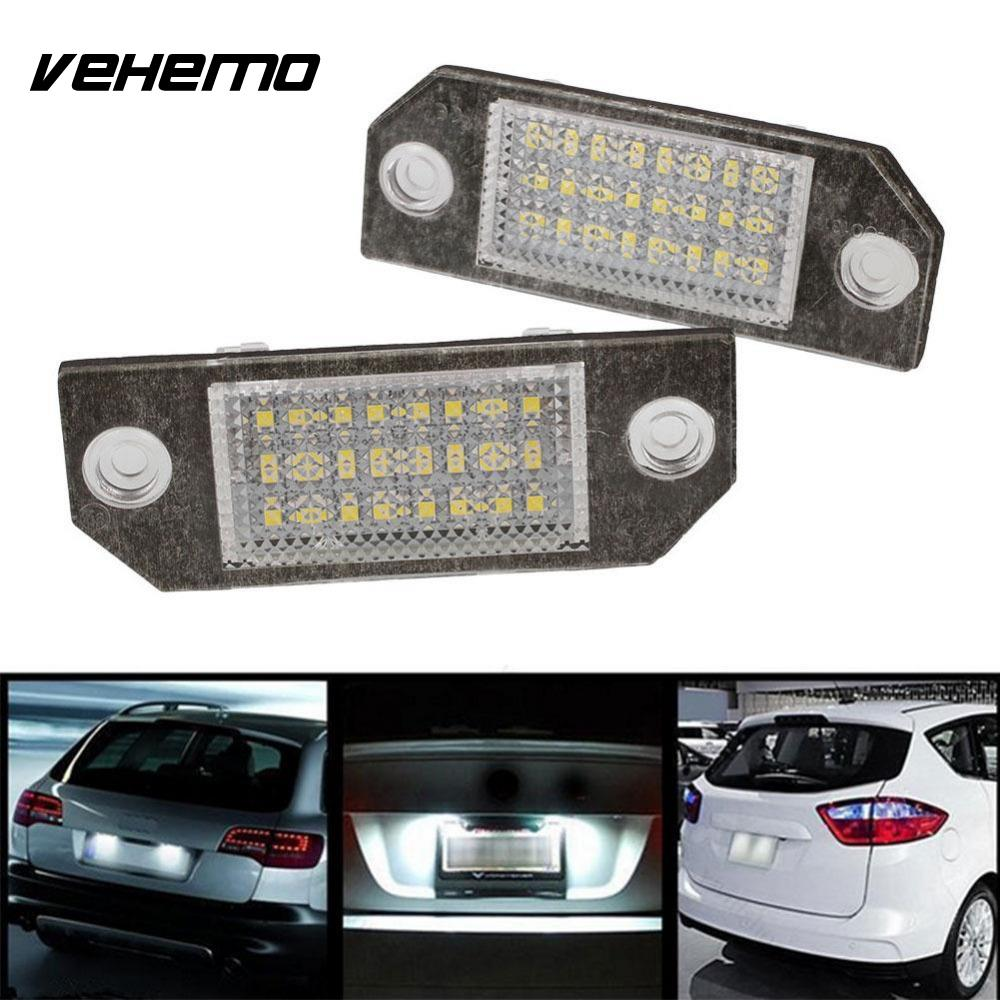 Vehemo 2Pcs 12V White 24 LED Number License Plate Light Lamp for Ford Focus C-MAX MK2 Car Light Source 2pcs car led license number plate light lamp 6w 12v 24 led white light for ford focus 2 c max
