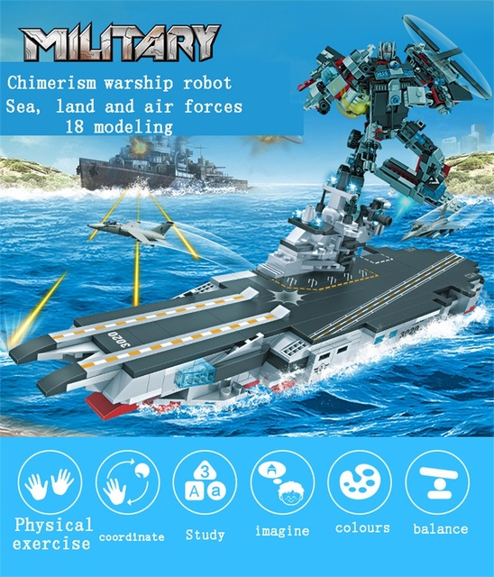 Building Blocks Toys  Complex Warship Robot Sea Land Air Classification Assemblage brick 771pcs Set For Kids